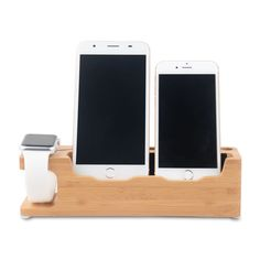 4 in 1 Bamboo Wood Charging Stand Station Dock Organizer for Apple Watch iPhone