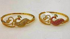 Elegant Fashion Wear: CZ -Ruby -Emerald combination Kadas ----  Price:795/- #necklace #jewellery #peocockjewellery