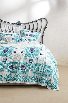Abaza Duvet #anthropologie // #bedroom #decor #home_decor #interior #interior_design #room #cute #bed #pillows
