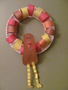 "This would make for a cute craft for the Thanksgiving Feast. Add a math component by having the kids create a pattern for the colored ""feathers""."