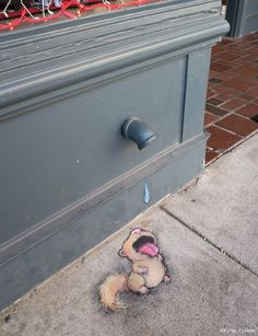 drinking squirrel by David Zinn