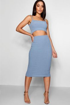 Square Neck Strappy Top & Midi Co-Ord - boohoo, sets, how to wear a set, how to style a matching set, co-ord, matching set