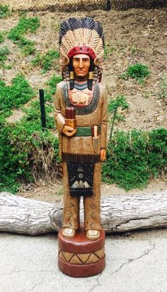 Allow weeks for all custom orders. Note: Natural wood can crack on occasion, it is a natural process and is not a defect. Indian's are Hand carved out of one piece of Colorado Aspen. Human Sculpture, Tree Sculpture, Carved Wood Wall Art, Hand Carved, Cigar Store Indian, Monuments, Cigar Art, Wooden Statues, Cigars And Whiskey