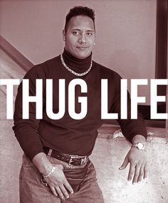 Dwayne Johnson knows how to thug life. Do you? Turtlenecks, chains and fanny packs, bitch. That's how. #therock