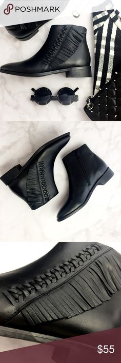 Topshop Black Fringed Ankle Boots Details: * Size 7.5 * Leather * Side zip * New with tags on soles, no box 11241608 Topshop Shoes Ankle Boots & Booties