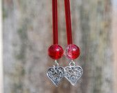 Handmade Sterling Silver, Red Silver Lined Vintage Glass Bugle Beads, Red / Clear Glass Crackle Beads, Silver Filigree Heart Charm Earrings  $15