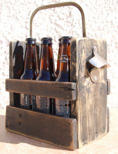 Black Rustic Bottle Six Pack Holder With Bottle Opener and Antique hand saw handle - One off a Kind! by WoodCore on Etsy