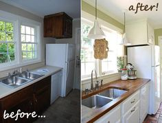 Paint, undercounted sink, and inexpensive butcher block counter tops are a great way to update your kitchen.