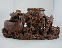 Vintage Chinese Soapstone Carving Vases and Chrysanthemums