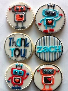 Cute little robot thank you cookies - HayleyCakes And Cookies