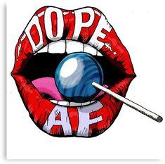 'Dope Lips ' Canvas Print by - Art Drawings Lips Painting, Trippy Painting, Hippie Painting, Painting Art, Arte Dope, Dope Art, Trippy Drawings, Art Drawings, Desenho Pop Art