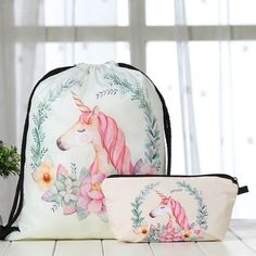 Unicorn Drawstring Bag Printed Backpack 2 Pcs Travel Gym Bags With Makeup Gift for sale online Unicorn Bedroom Accessories, Unicorn Gifts, Printed Bags, Zipper Bags, Louis Tomlinson, Liam Payne, School Bags, Drawstring Backpack, Shopping Bag