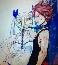 black shirt blonde hair blue ribbon breasts brown eyes chains choker cleavage fairy tail femdom hair ribbon leash long hair lucy heartfilia mashima hiro natsu dragneel pink hair pulling ribbon role reversal shirt smile sweat sweatdrop tank top t Fairy Tail Lucy, Fairy Tail Nalu, Fairy Tail Tumblr, Fairy Tail Amour, Fairy Tail Images, Fairy Tail Ships, Fairytail, Gruvia, Gajevy