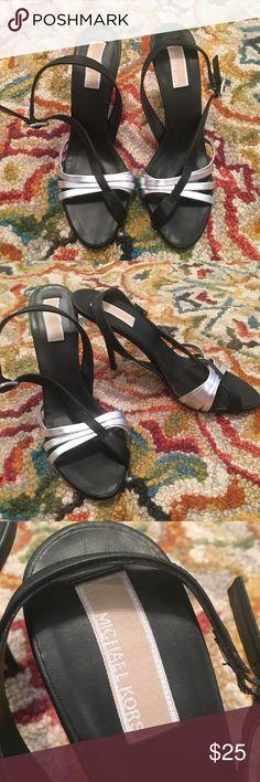 Michael Kors Silver Black Heels Size 8 Michael Kors Silver Black Heels Size 8 Michael Kors Shoes Heels