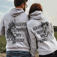 Funny Couple Shirts, Couple Tees, Matching Couple Outfits, Matching Couples, Fashion Couple, Teen Fashion Outfits, His And Hers Hoodies, Valentines Gifts For Him, Queen