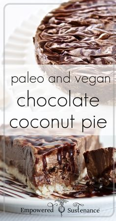 No-Bake Creamy Chocolate Coconut Pie #food #paleo #glutenfree #chocolate