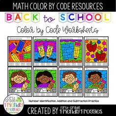 These math coloring sheets are perfect for Back to School math centers! These sheets allow for immed Kindergarten Lesson Plans, Kindergarten Activities, Kindergarten Teachers, Beginning Of The School Year, Back To School, Subtraction Strategies, Subtraction Worksheets, Addition And Subtraction Practice, Thanksgiving Math