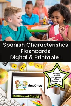 Make practicing Spanish words for characterstics, question words, adjectives, and more fun and easy with these digital AND printable flashcards. Digital version is on Google Slides & easily assigned on Google Classroom or other platform. Vocabulary aligns with Así se Dice Chapter 1. #spanishvocabulary #spanishflashcards #spanishadjectives