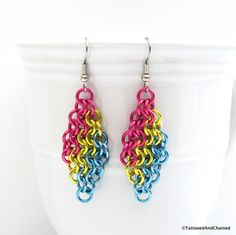 Pan pride earrings, chainmaille European 4 in 1 weave.