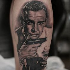 Connery looks extra smarmy in this tattoo by Suno Park. #Inked #connery #sean #james #bond #movie #portrait #realism
