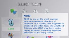 The Sims 4 | claudiasharon ADHD Trait gameplay mod