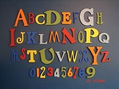A girl and a glue gun: ABC Wall Abc Wall, Alphabet Wall, Letter Wall, Alphabet Crafts, Alphabet Activities, Wall Art, Whimsical Fonts, Baby Room Themes, Baby Store