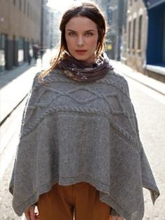 This elegant poncho is knitted sideways and has been designed by Martin Storey using Creative Focus Worsted.