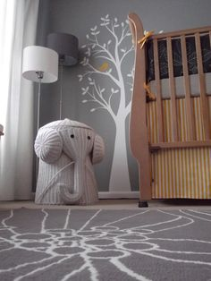 Elephant hamper! Love color scheme for a little boys room.