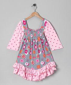 Gray Fun Time Smocked Dress - Infant, Toddler & Girls