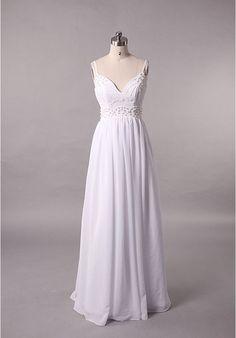 [$295.00] Chiffon Spaghetti Straps Sweetheart Empire Simple Wedding Dresses