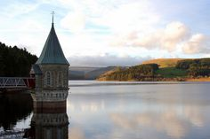 Pontsticill Reservoir and Valve Tower in the Brecon Beacon National Park, UK