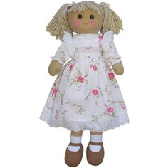 Rag Doll with Cream Floral Dress