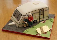 caravan cake - Bing Images 40th Cake, Dad Cake, Adult Birthday Cakes, Happy Birthday Cakes, 80th Birthday, Fishing Theme Cake, Fishing Cakes, Fondant Cakes, Cupcake Cakes
