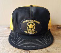 0cfc78fdad673 Vtg AIR CANADA Ground Equipment Maintenance Golden Mesh Trucker Hat  Snapback Cap  VictoryCaps  BaseballCap