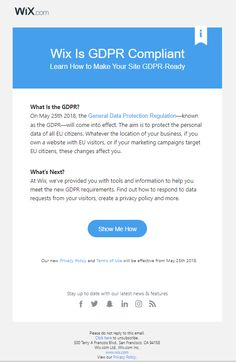 | Wix GDPR email | For more GDPR content: https://www.e-shot.net/Blog/Filter/Category/16 #EmailMarketing #GDPR #EmailDesign #Inspiration