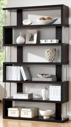 Help limited spaces feel bigger by organizing your collections with this zig zag shelf from Baxton Studio. With its modern staggered design, the Javier display unit features open shelves for an airy f 3 Shelf Bookcase, Modern Bookcase, Modern Shelving, Bookshelves, Bookshelf Ideas, Contemporary Bookcase, Contemporary Design, Shelving Units, Black Bookcase