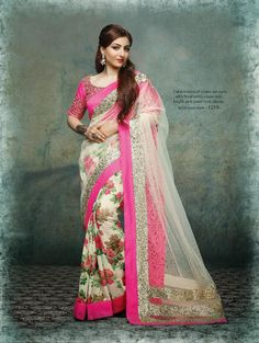 The saree is in floral pink and white, and the blouse is in pink. Stands out due to cream net pallu with floral prints crepe skirt and bright pink jewel neck blouse.The saree is in net and crepe, and the blouse is in embroidered georgette. Buy Designer Sarees Online, Latest Designer Sarees, Latest Sarees, Chiffon Saree, Georgette Sarees, Bollywood Designer Sarees, Bollywood Saree, Ethnic Fashion, Indian Fashion