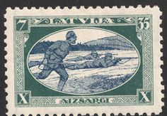 "Latvia 1932 Scott B88 7s (35s) dark blue green & dark blue ""Infantry in Action"""