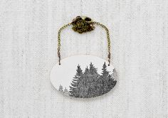 Grove Necklace in Graphite - Sketched Forest Jewelry. $65.00, via Etsy.