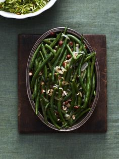 Green Beans, Hazelnuts and Shallots #thanksgiving #sides #holiday #family