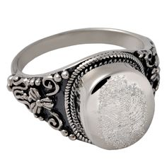 Fingerprint Cremation Jewelry: Sterling Silver Round Cremation Ring ($199)