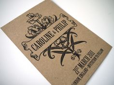 Cute - Brown Kraft Save the Date - 'Vintage Bouquet' Design - 50 Cards. $87.50, via Etsy.