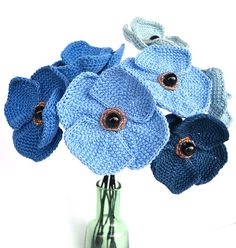 blue poppies bouquetcrochet bouquetunusual by Marmotescu on Etsy