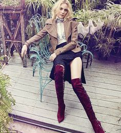 Pin parade: Diane Kruger got leggy in the 'secret over-the-knee boot' from Sergio Rossi's fall/winter 2015 collection while posing for a spread shot by Max Abadian
