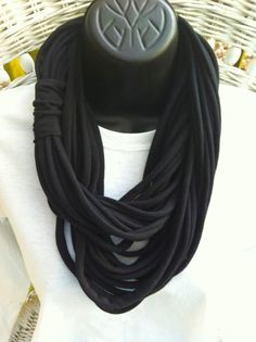 Black Maxi Length Jersey Knit Scarf by marshflowers on Etsy, $18.00