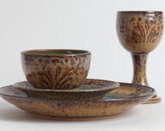 Set of four pieces. Stoneware dishes, ceramic dishes, pottery dishes, dinnerware, dish set, ceramics and pottery, home decor,stoneware plate