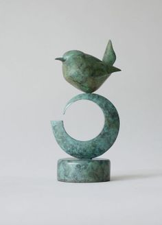 Bronze Figurative Abstract #sculpture by #sculptor Stephen Page titled: 'Brenin (Bronze Wren on base)' £950 #art