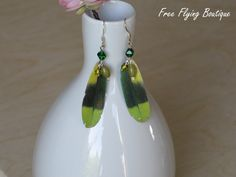 Paper Feather Earrings - Emerald and Lime Green, and Lemon Yellow With Glass Beads - Unique Cruelty-Free Eco-Friendly - Amazon Parrot. $10.00, via Etsy.