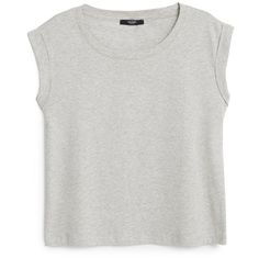 Essential Cotton T-Shirt (€14) ❤ liked on Polyvore featuring tops, t-shirts, shirts, short sleeve shirts, round top, short sleeve t shirts, short sleeve tops and cotton shirts