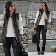 Faux fur vest & cowboy boots (by Leticia Da Silva) http://lookbook.nu/look/4318589-faux-fur-vest-cowboy-boots